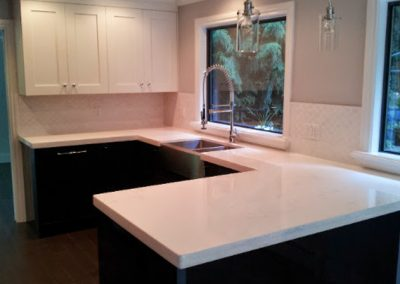 All new white Quartz Countertops with farmhouse sink and dual tone cabinets