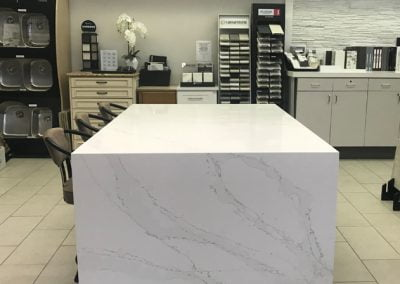 Custom waterfall edge for island countertop