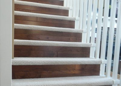 Carpet stair threads with wood risers